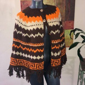 1968 handmade vintage cape poncho gold button